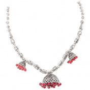 Jewel Fab Art Silver Plated Red Coral Beads Gemstone Handmade Necklace Jewellery