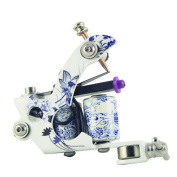 Blue and White 8 Wrap Flower Tattoo Machine