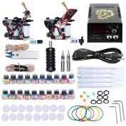 BeautyGal Complete Tattoo Kit 2 Machine Gun 20 Colour Inks Power Supply Needles Foot Pedal Tips
