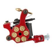 Beauty7 Red Revolver Gun Bullet Style 10 Wrap Coils Motor Rotary Tattoo Machine Gun Supply Set For Liner & Shader Body Art