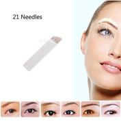 VideoPUP(TM) 100pcs Disposable Makeup Manual Eyebrow Microblade 21 Sloped Tattoo Needles