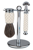 Shaving Gift Set With Safety Razor, 100% Badger Hair Shaving Brush, And All Metal Stand. Great Gift Item For Boyfriend, Husband, Or Father
