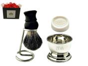 Badger Brush 100 % Pure Badger Shaving Brush with ZEVA Stand Shaving Bowl and Marvy Soap