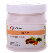 Biocare Body Massage Cream Enriched With Alomnd, Olive & Carrot Seed Oil, 500Ml