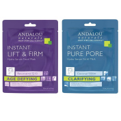Andalou Instant Lift & Firm Hydro Serum Facial Mask & Instant Pure Pore Hydro Serum Facial Mask Bundle, 20ml Each