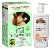 Expecting Mothers' Comfort Pack Featuring Earth Mama Angel Baby Organic Third Trimester Tea (16 Bags) & Palmer's Cocoa Butter Massage Lotion for Stretch Marks 250ml - 2 Itmes Bundled by Maven Gifts