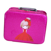 Cosmetics Case Makeup Train Case Cosmetics Organiser Beauty Case -Rose Red