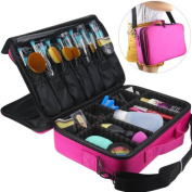 LOUISE MAELYS 3 Layers Makeup Artist Train Case Cosmetic Bag Shoulder Bag for Travel-Removable Dividers, Large Space