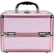 Sunrise C0211 4-Tiers Expandable Trays Makeup Train Case Shoulder Strap Key lock, Pink Krystal