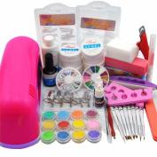 Warm Girl 25 in 1 Combo Set Professional DIY UV Gel Nail Art Kit 9W Lamp Dryer Brush Buffer Tool Nail Tips Glue Acrylic Glitter Set