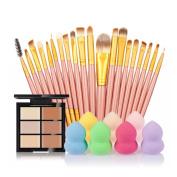 Professional Brushes, RIUDA 6-Colour Concealer +20 Makeup Brush + Water Puff Puff Powder Puff