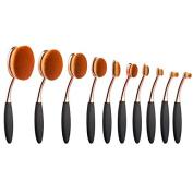 10pcs Makeup Brush Set Professional Oval Toothbrush Powder Foundation Eyeshadow Multi-Fuction Cosmetics Brushes