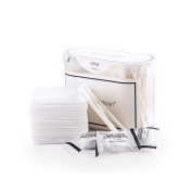 Huluwa Cotton Swabs Makeup Cotton Pads Compressed Towel Set for Travel ( 45 Swabs, 15 Pieces Pads, 7 Towels) , White