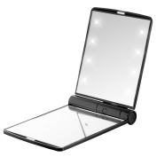 LED Folding Cosmetic Mirror,Handbag Make Up Mirror Lamps,Adjustable Led Lighted Travel Pocket Mirror,Portable Travel Handheld