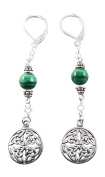 Sterling Silver Celtic Knot Earrings with Malachite, 5.7cm , Lever Back Wires