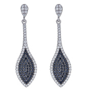 925 Sterling Silver Pointed Oval Design Earrings, Black And White Cubic Zirconia Stones, For Women