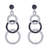 925 Sterling Silver Three Circls Earrings, Black And White Cubic Zirconia Stones, For Women And Girls