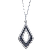 925 Sterling Silver Diamond Shape Pendant Necklace, Black And White Cubic Zirconia Stones, For Women