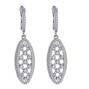 925 Sterling Slver Oval Shape With Criss Cross Centre Earrings, Cubic Zirconia Stones, For Women