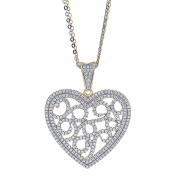 925 Sterling Silver Heart With Scrolls Pendant Necklace, Cubic Zirconia Stones, 5.5m Chains, For Women