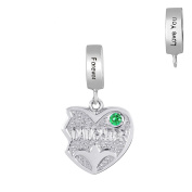 Part 3 of 3 - Right Side Daughter in Personalised Birthstone - Daughters and Mom Three Hearts Charms