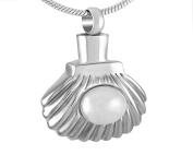 Casket Etcetera Seashell Cremation Urn Necklace Jewellery For Ashes Stainless Steel