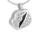 Casket Etcetera Kiss Lips Cremation Urn Necklace Jewellery For Woman Stainless Steel