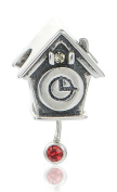 """Best Wing Jewellery .925 Sterling Silver """"Cuckoo Clock /w Red Crystal"""" Charm Bead"""
