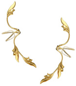 Ear Charm's Non-Pierced Full Ear Spray Delicate Leaves Gold Over 925 Sterling a PAIR of Ear Cuff Earrings.