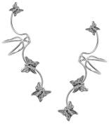 Full Ear, Butterfly Ear Cuff Earrings, Sterling Silver - A Pair