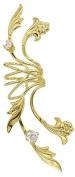 Ear Charm's Full Ear Non-Pierced 'Fleur de Lei Full' Ear Cuff in Yellow Gold Over Sterling Silver, a Beautiful Single RIGHT Ear Cuff Wrap Earring.