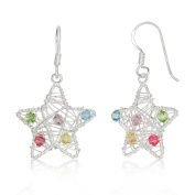 WithLoveSilver 925 Sterling Silver Wire Wrapped Star Colourful Multi-colour Crystals Beaded Dangle Hook Earrings