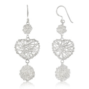 WithLoveSilver 925 Sterling Silver Wire Wrapped Heart And Round Dangle Hook Earrings