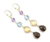 Multi-Colour Gemstone Dangle Earrings,14K YellowGold Leverbacks