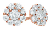 White Natural Diamond Stud Earrings In 10k Solid Gold
