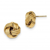 14k Yellow Gold 15mm Classic Love Knot Stud Post Earrings