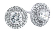 Solitaire & Micropave Halo Stud Earrings Bridal Jewellery in 10K Solid Gold