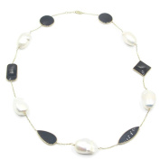 Freshwater White Pearl & Black Onyx 46cm Necklace,14k Yellow Gold