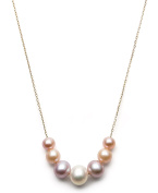 """14k Yellow Gold 6-9.5mm Multi-Coloured Pink Cultured Freshwater Pearl Chain Necklace, 18"""""""
