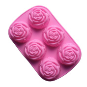 VolksRose Silicone Mould for Chocolate, Jelly and Candy etc - Random colours - 6 Rose Flowers