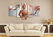 Winpeak Pure Hand Painted Framed Canvas Art Buddha Paintings on Canvas 5 paenl Wall Decor For Living Room Stretched Ready to Hang (150cm W x 80cm H