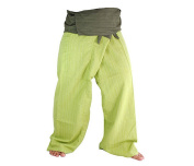 Two Tone Yoga Pants Trousers Thai Fisherman Pants Free Size Cotton Drill Stripes Olive/lime Green