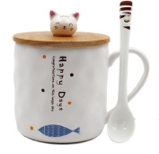 Japanese Cat Ceramics Coffee Mug Teacup with Lid and Spoon - 350ML