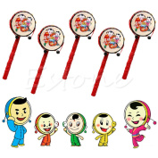 Kocome Chinese Traditional Toy Rattle Drum Kids Cartoon Hand Bell Plastic for Baby