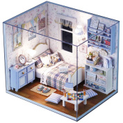 Ogrmar Wooden Dollhouse Miniatures DIY House Kit With Cover and Led Light-Full Sunshine