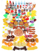 Healthy Play Food Set for Kids - Huge 202 Piece Pretend Food Toys is Perfect for Kitchen Sets and Play Food Kitchen Toys - Inspire your Toddlers Imagination + 4 Bonus Water Bottles