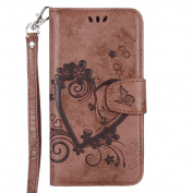 IKASEFU Retro Pressed Love Heart Flower Pattern Strap Flip Wallet Case Cover with Stand for Samsung Galaxy S5-Brown