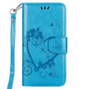 IKASEFU Retro Pressed Love Heart Flower Pattern Strap Flip Wallet Case Cover with Stand for Samsung Galaxy J3 2016-Blue