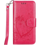 iPhone 6S Leather Case,IKASEFU Retro Pressed Love Heart Flower Pattern Strap Flip Wallet Case Cover with Stand for iPhone 6/6S 12cm -Rose Red