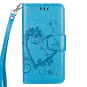 IKASEFU Retro Pressed Love Heart Flower Pattern Strap Flip Wallet Case Cover with Stand for Samsung Galaxy S7-Blue